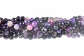 Purple Banded Agate 8mm Faceted Round Beads 16""