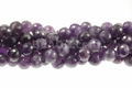 Purple Dark Amethyst 12mm Faceted Round Beads 15.5""