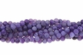 Purple Druzy Agate 8mm (Frosted) Round Beads 15.5""