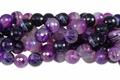 Purple Stripe Agate 10mm Faceted Round Beads 16""