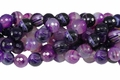 Purple Stripe Agate 12mm Faceted Round Beads 40 cm