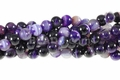 Purple Stripe Agate 8mm Round Beads 16""