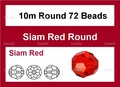 Red Crystal 10mm Faceted Round Beads 72 pcs.