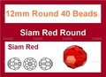 Red Crystal 12mm Faceted Round Beads 40 pcs.
