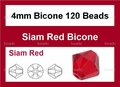 Red Crystal 4mm Faceted Bicone Beads 120 pcs.