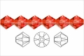 Red Crystal 6mm Faceted Bicone Beads 50 pcs.