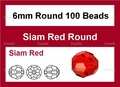 Red Crystal 6mm Faceted Round Beads 100 pcs.