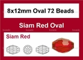 Red Crystal 8x12mm Faceted Rice Beads 72 pcs.