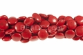 Red Howlite Magnesite 14mm Puff Coin Beads 15.5""