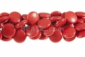 Red Howlite Magnesite 18mm Puff Coin Beads 15.5""