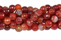 Red Stripe Agate 10mm Faceted Round Beads 16""
