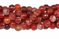 Red Stripe Agate 12mm Faceted Round Beads 40 cm