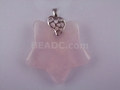 Rose Quartz 32mm Star With Hole Pendant