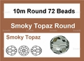 Smokey Crystal 10mm Faceted Round Beads 72 pcs.