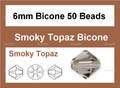 Smokey Crystal 6mm Faceted Bicone Beads 50 pcs.