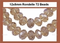 Smokey Crystal 8x12mm Faceted Rondelle Beads 72 pcs.