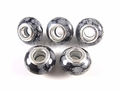 Snowflake Obsidian 8x14mm , 5mm Hole Pandora Beads with Silver Plated 1 pc.