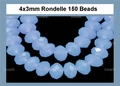 Synthetic Chalcedony 3x4mm Faceted Rondelle Beads 150 pcs.