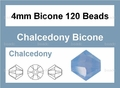Synthetic Chalcedony 4mm Faceted Bicone Beads 120 pcs.