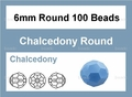 Synthetic Chalcedony 6mm Faceted Round Beads 15""