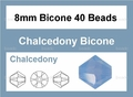 Synthetic Chalcedony 8mm Faceted Bicone Beads 40 pcs.
