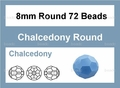 Synthetic Chalcedony 8mm Faceted Round Beads 72 pcs.