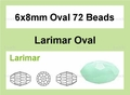 Synthetic Larimar 6x8mm Faceted Rice Beads 72 pcs.
