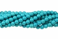 Turquoise Turquoise Howlite Magnesite 8mm Round Beads 15.5""