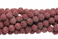 Volcano Red Lava 8mm-9mm Round Beads 16""