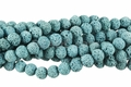 Volcano Turquoise Lava 8mm-9mm Round Beads 16""