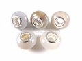 White Agate 8x14mm , 5mm Hole Pandora Beads with Silver Plated 1 pc.