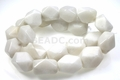 White Snow Jade 14x20mm Faceted Nugget Beads 15.5""