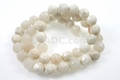 White Snow Jade 8mm Faceted Round Beads 15.5""