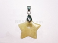 Yellow Jade 20mm Star With Hole Pendant