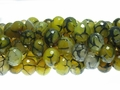 Yellow Spinder 12mm Agate Faceted Round Beads