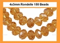 Yellow Topaz Crystal 3x4mm Faceted Rondelle Beads 150 pcs.