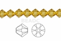 Yellow Topaz Crystal 6mm Faceted Bicone Beads 50 pcs.