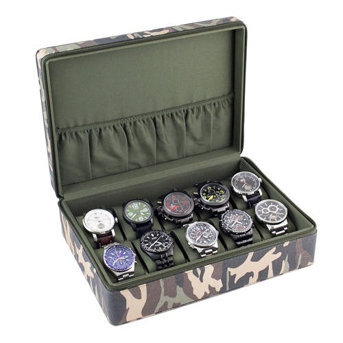 Camouflage Watch Case Display Storage Box Navy Green Interior Holds 10 Watches