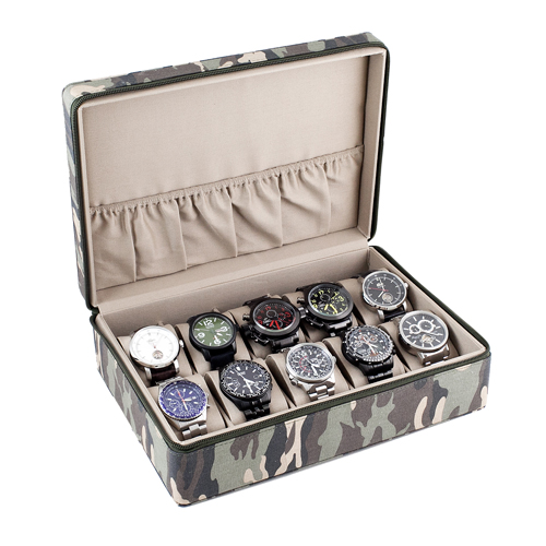 Camouflage Watch Case Display Storage Box Sandy Tan Interior Holds 10 Watches