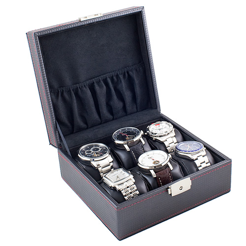 CARBON FIBER WATCH CASE DISPLAY STORAGE BOX WITH SOFT ADJUSTABLE PILLOWS HOLDS 6 WATCHES AND JEWELRY