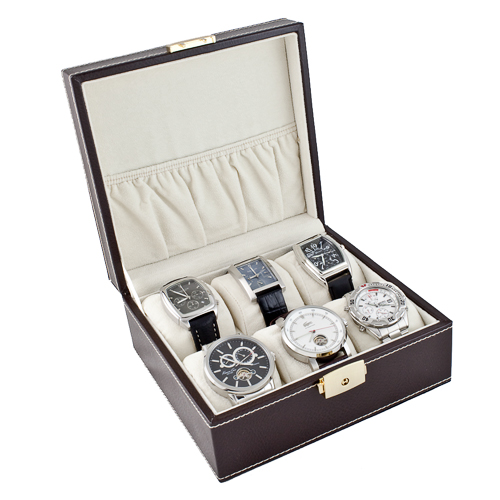 COMPACT BROWN WATCH CASE DISPLAY STORAGE BOX WITH SOFT ADJUSTABLE PILLOWS HOLDS 6 WATCHES AND JEWELRY