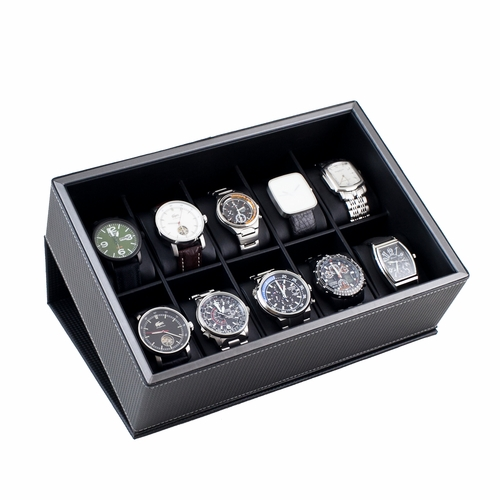 FLIP TOP WATCH DISPLAY CASE WITH GUN METAL TRIM HOLDS 10 WATCHES