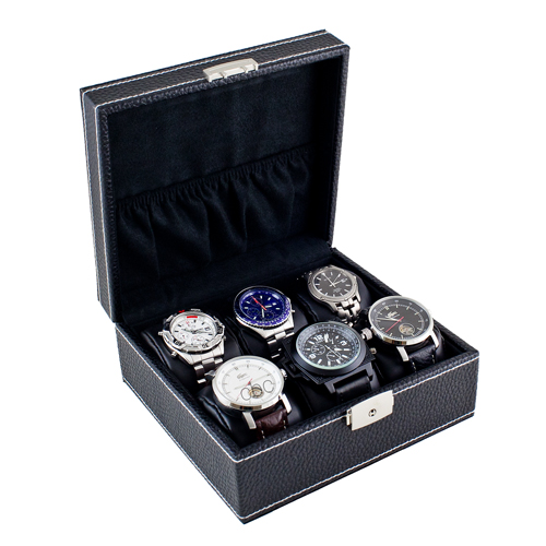 MODERN WATCH CASE DISPLAY STORAGE BOX WITH SOFT ADJUSTABLE PILLOWS HOLDS 6 WATCHES AND JEWELRY