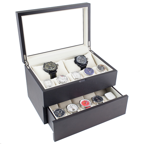 PREMIUM DARK WALNUT FINISH WOOD WATCH CASE WITH GLASS TOP, SOFT PILLOWS HOLDS 20+ LARGE WATCHES