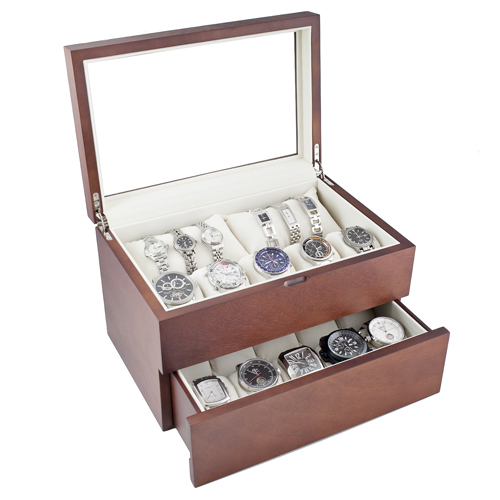 PREMIUM VINTAGE FINISH WOOD WATCH CASE WITH GLASS TOP, SOFT PILLOWS HOLDS 20+ LARGE WATCHES