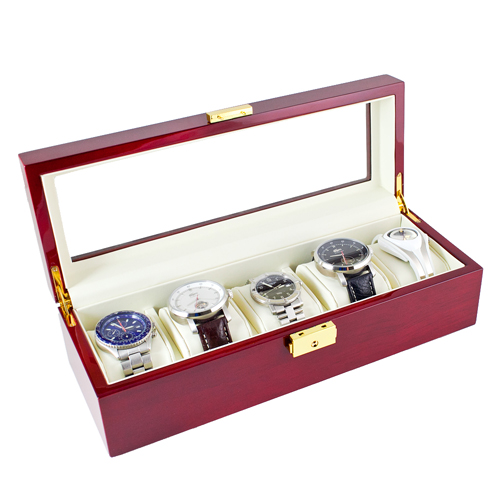 ROSEWOOD FINISH WATCH CASE JEWELRY DISPLAY BOX WITH GLASS CLEAR TOP HOLDS 5 WATCHES