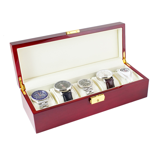 ROSEWOOD FINISH WATCH CASE JEWELRY DISPLAY BOX WITH SOLID TOP HOLDS 5 WATCHES