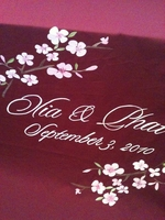 Burgundy Floral Custom Fabric Aisle Runner