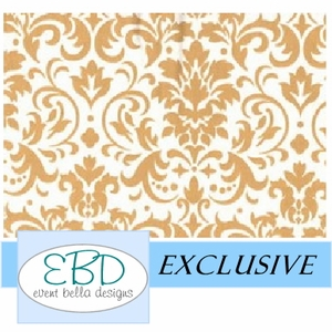 Damask Gold on White