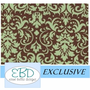 Damask Green on Chocolate
